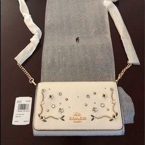 COACH NEW Chalk (Beige) Stud Dressy Xbody Bag